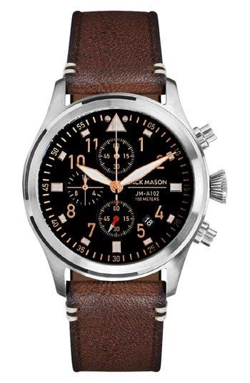 Jack Mason Aviation Leather Strap Chronograph Watch