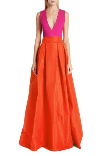 Sachin & Babi Savoia Colorblock A-Line Gown