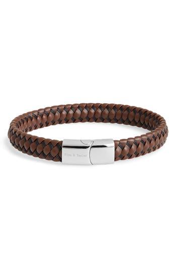 Finn & Taylor Brass & Leather Weave Bracelet