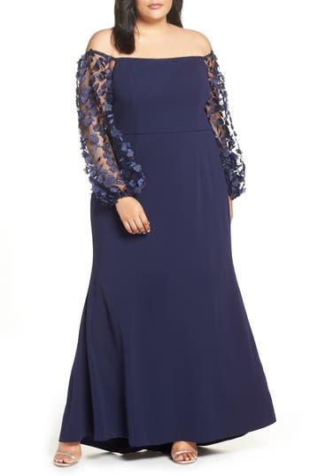 Eliza J Off the Shoulder 3D Floral Sleeve Scuba Crepe Evening Dress