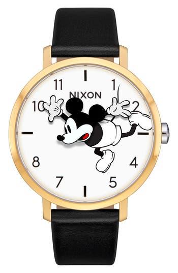Nixon x Disney Arrow Mickey Leather Strap Watch, 38mm