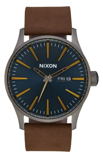 Nixon Sentry Leather Strap Watch, 42mm
