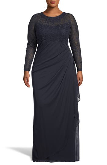 Xscape Lace Bodice Ruched Evening Dress
