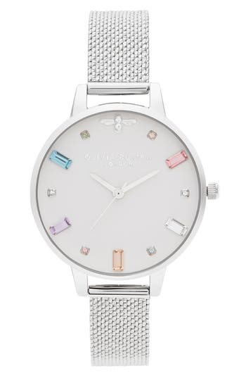 Olivia Burton Rainbow Stone Mesh Strap Watch, 34mm