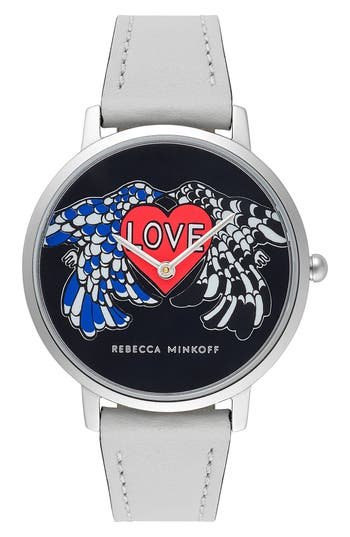 Rebecca Minkoff Major Love Leather Strap Watch, 35mm