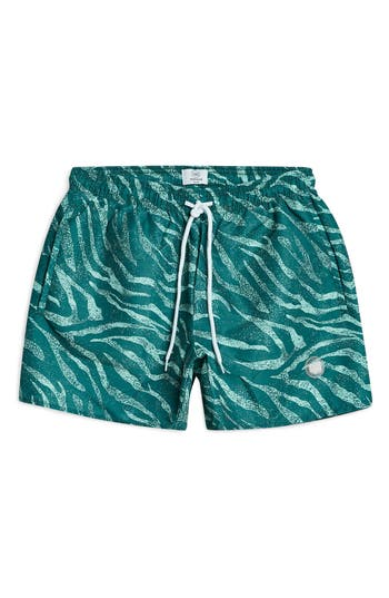 Topman Zebra Print Swim Trunks