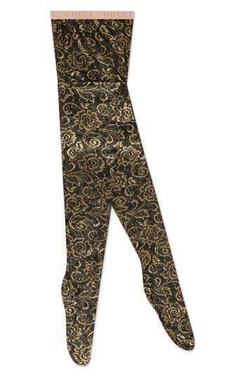 Gucci Floral Metallic Tights