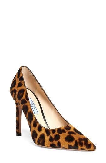 Prada Leopard Print Genuine Calf Hair Pointy Toe Pump (Women)