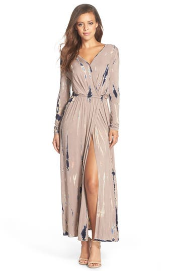 Women's Fraiche By J Tie Dye Faux Wrap Maxi Dress, Size Medium - Beige