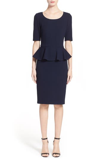 St. John Collection Peplum Milano Pique Knit Dress, Blue