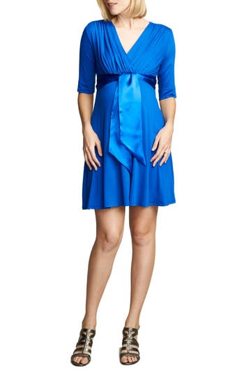Maternal America Tie Front Maternity Dress, Blue