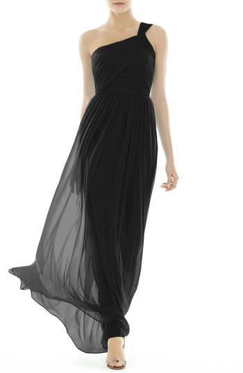 Alfred Sung One-Shoulder Shirred Chiffon Gown, Black