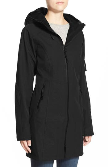 Women's Ilse Jacobsen Regular Fit Hooded Raincoat, Size 34 - Black