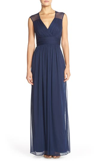 Alfred Sung Shirred Chiffon Cap Sleeve Gown, Blue