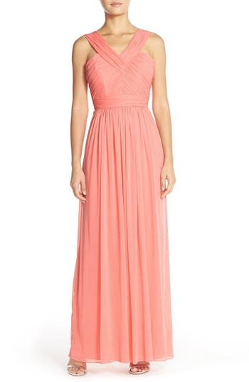 Alfred Sung Shirred Chiffon V-Neck Gown, Red