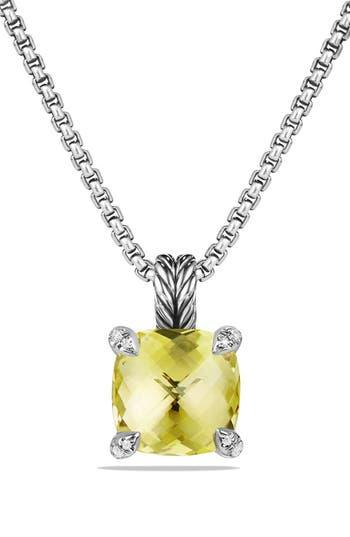 Women's David Yurman 'Châtelaine' Pendant Necklace With Semiprecious Stone & Diamonds