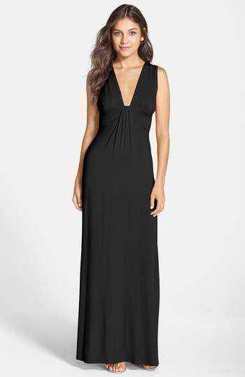 Fraiche By J Deep V-Neck Jersey Maxi Dress