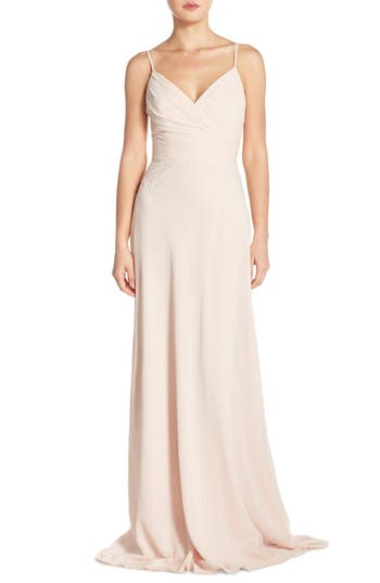 Monique Lhuillier Bridesmaids Lace Trim Chiffon Surplice Gown