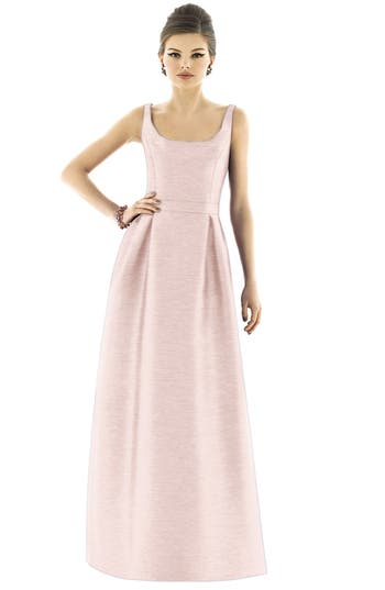 Alfred Sung Scoop Neck Dupioni Full Length Dress, Pink
