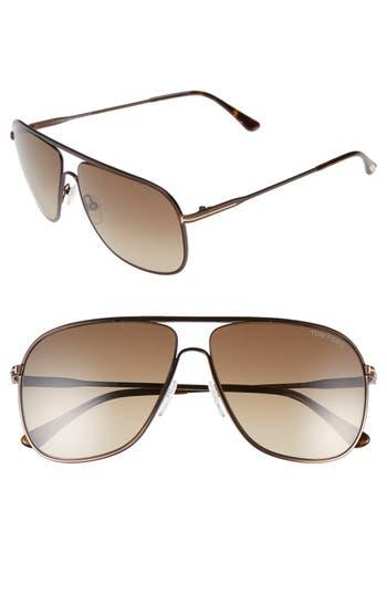 Men's Tom Ford 60Mm Matte Aviator Sunglasses - Matte Brown/ Havana Roviex