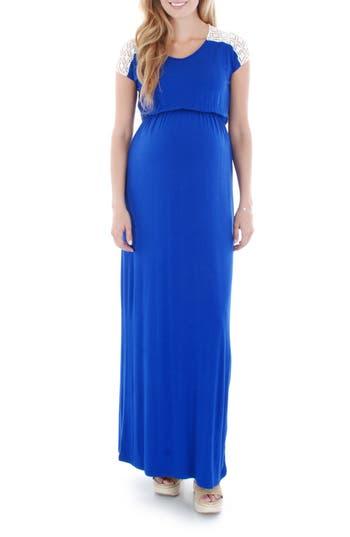Everly Grey Lace Yoke Maxi Maternity Dress, Blue