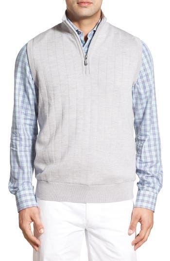 Bobby Jones Quarter Zip Wool Sweater Vest, Grey