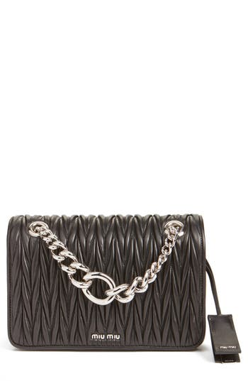 Miu Miu 'Club' Matelasse Leather Shoulder Bag - Black at NORDSTROM.com