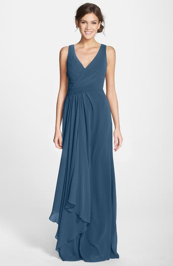 Monique Lhuillier Bridesmaids Sleeveless V-Neck Chiffon Gown, Blue