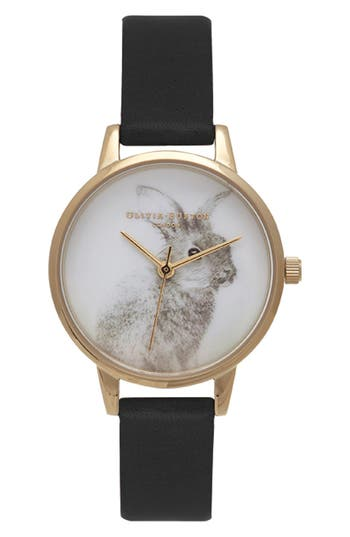 Women's Olivia Burton 'Woodland Bunny' Faux Leather Strap Watch, 30Mm