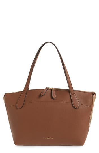 Burberry Welburn Check Leather Tote - Brown