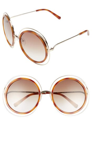 Women's Chloé 'Carlina' 58Mm Round Sunglasses - Gold/ Blonde Havana