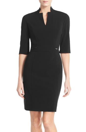 Tahari Bi-Stretch Sheath Dress, Black