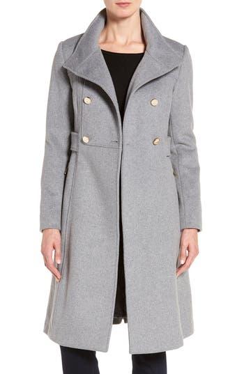 Women's Eliza J Wool Blend Long Military Coat, Size 4 - Grey