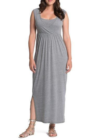Bun Maternity Cross Top Maternity/nursing Maxi Dress, Grey