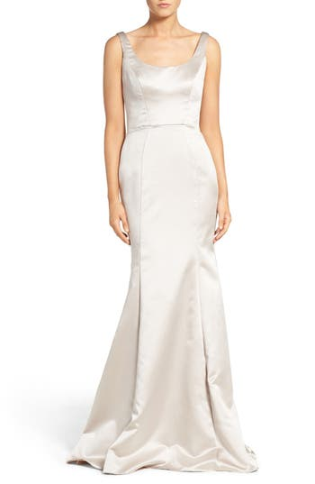 Hayley Paige Occasions Back Cutout Scoop Neck Satin Trumpet Gown