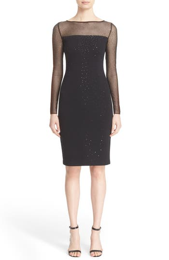 St. John Collection Sequin Embellished Shimmer Milano Knit Dress, Black
