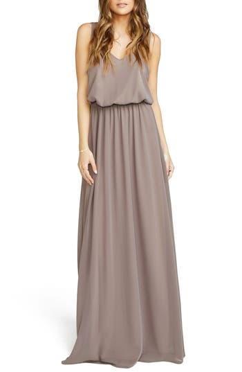 Show Me Your Mumu Kendall Soft V-Back A-Line Gown, Brown