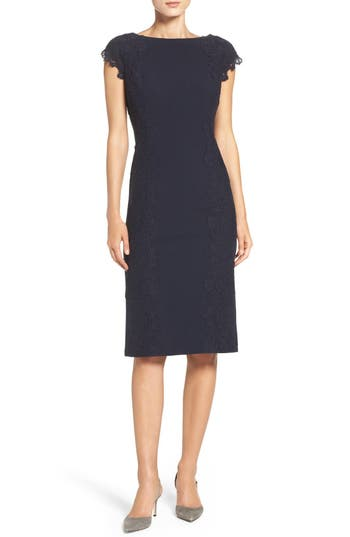 Maggy London Lace Detail Crepe Sheath Dress, Blue