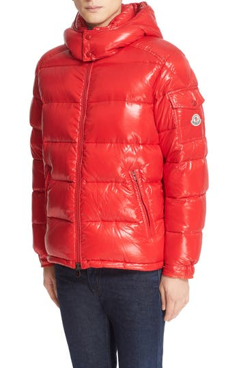 Moncler Maya Lacquered Down Jacket, Red