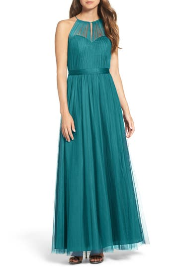Wtoo Tulle Halter Neck Gown, Green