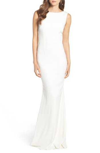 Katie May Drape Back Crepe Gown, Ivory