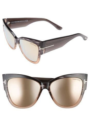 Tom Ford Anoushka 57Mm Gradient Cat Eye Sunglasses - Grey Gradient/ Brown Pink
