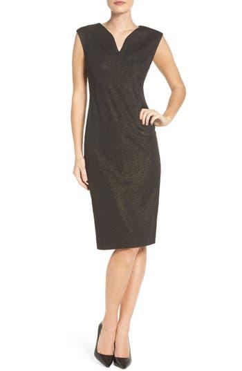 Eci Metallic Ponte Sheath Dress, Black