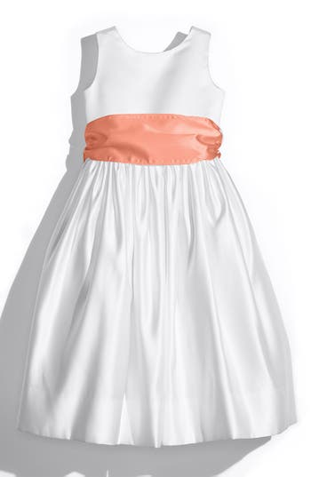 Girls Us Angels White Tank Dress With Satin Sash Size 8  Coral