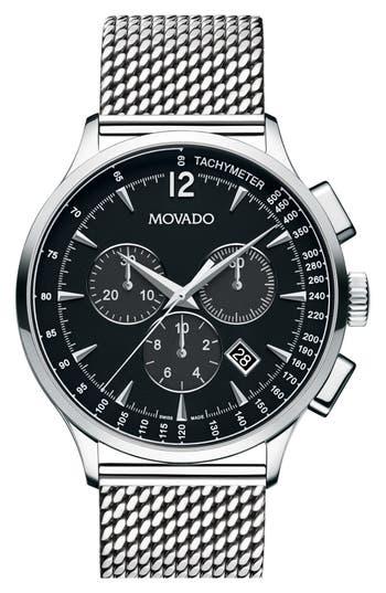 Men's Movado 'Circa' Chronograph Mesh Strap Watch, 42Mm