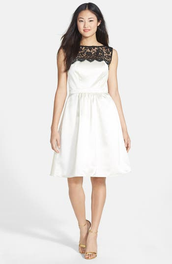 After Six Sleeveless Lace & Satin Cocktail Dress, White