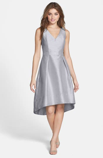 Alfred Sung Satin High/low Fit & Flare Dress, Grey (Online Only)