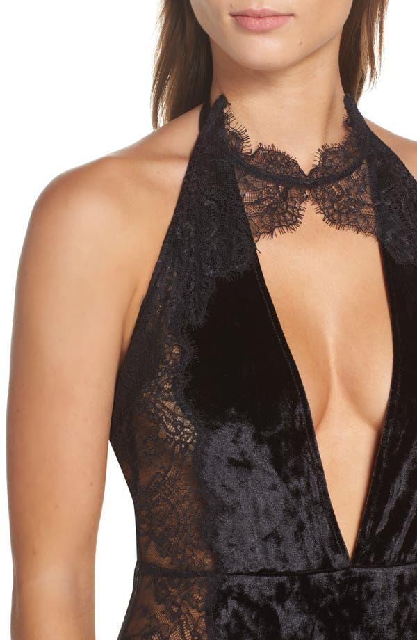 Alternate Image 5  - Chelsea28 First Kiss Velvet Bodysuit