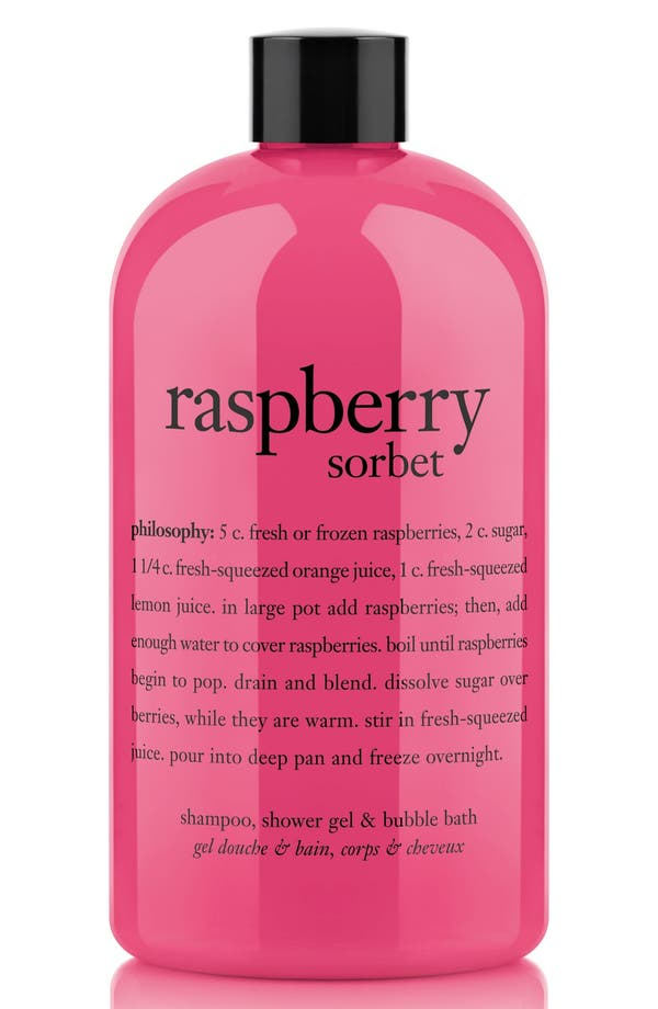 'raspberry sorbet' award-winning ultra-rich 3-in-1 shampoo, shower gel & bubble bath,                             Main thumbnail 1, color,                             No Color
