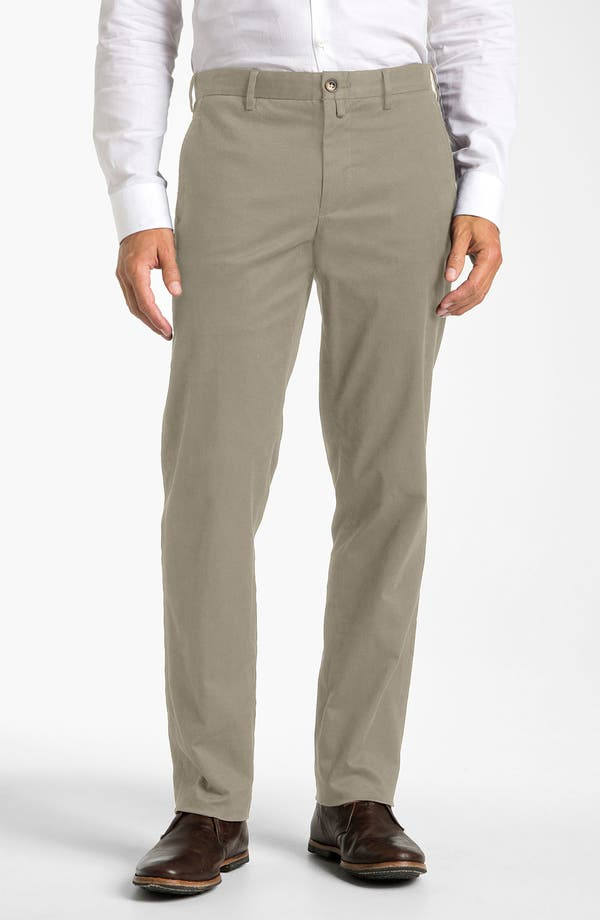 Main Image - Façonnable Flat Front Cotton Twill Trousers